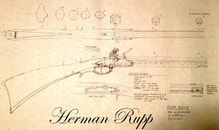 Rupp flintlock rifle, Lehigh rifle blueprint, plan