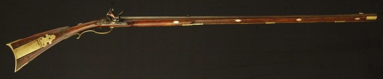 Jacob Kuntz Flintlock Rifle, Red Varnish, lehigh, flintlock